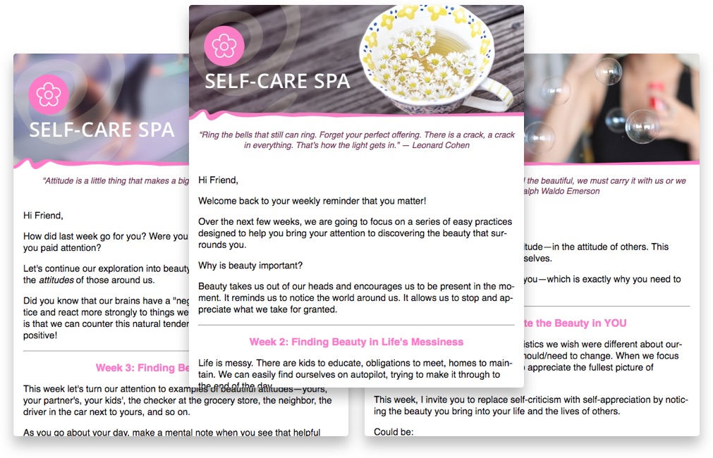 sample self-care spa emails